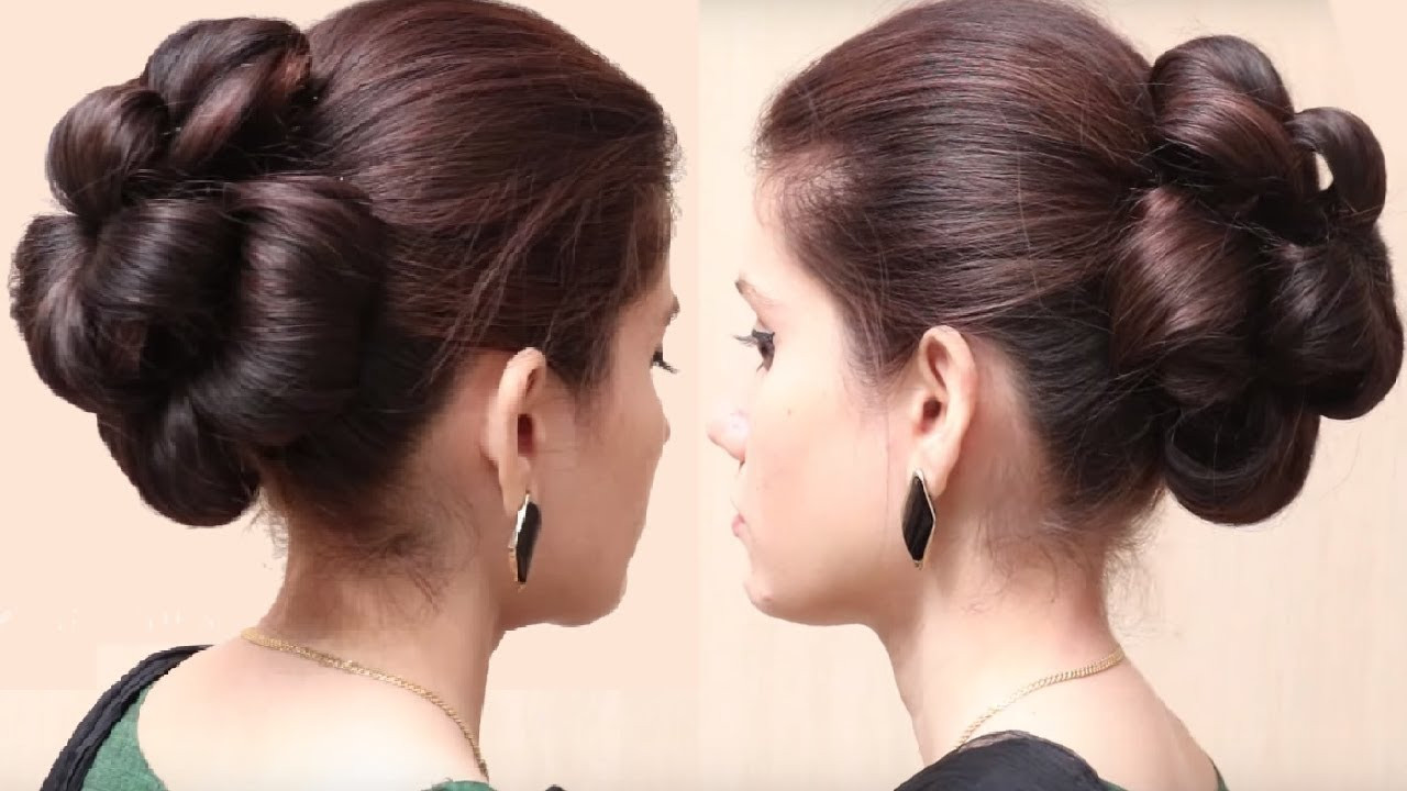 Best ideas about Bun Hairstyles For Girls . Save or Pin Flower Bun Hairstyle for Girls Now.