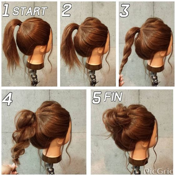 Best ideas about Bun Hairstyles For Short Hair Step By Step . Save or Pin Super Easy Messy Bun in 5 Simple Steps Now.