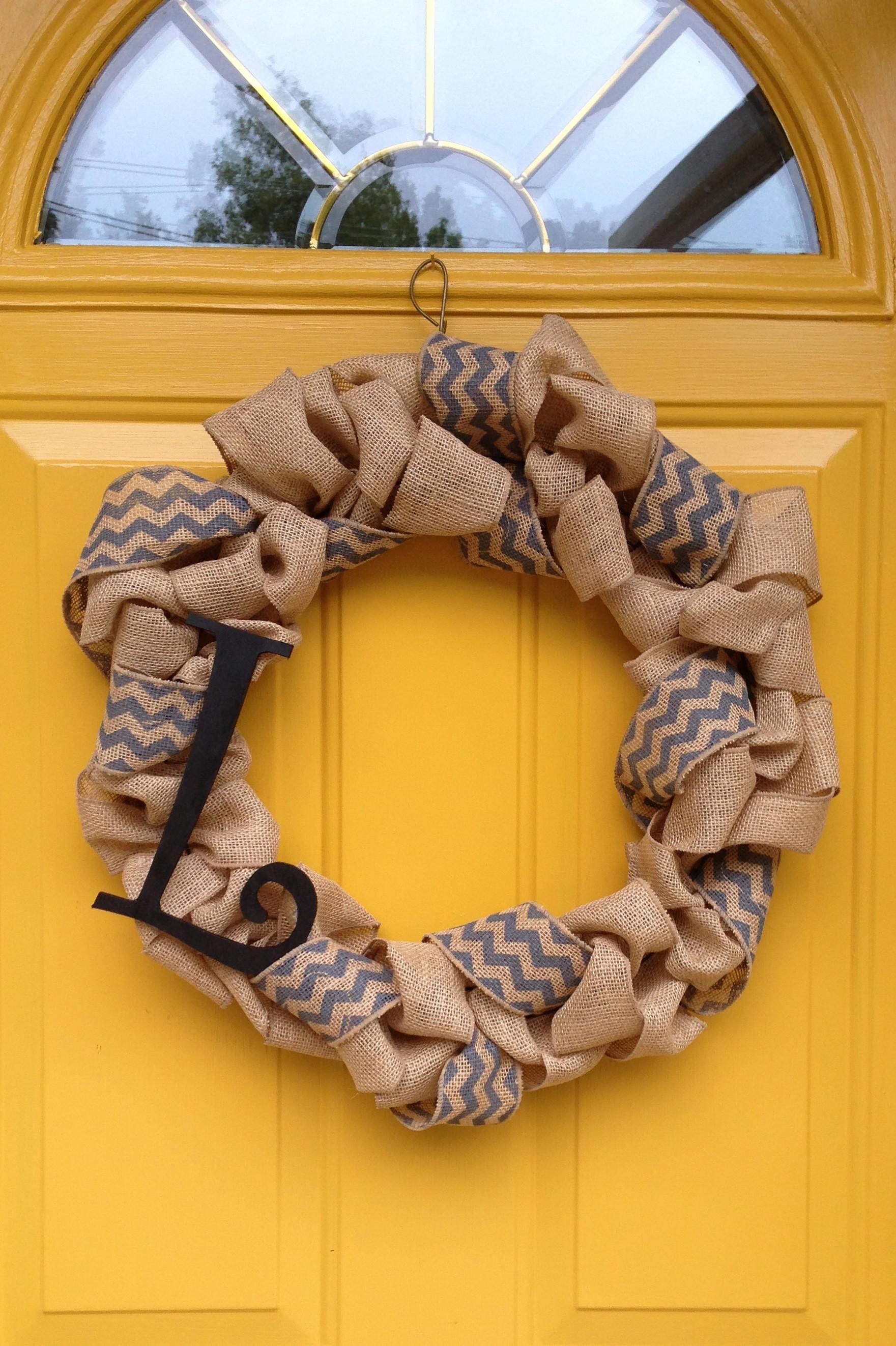 Best ideas about Burlap Wreath DIY . Save or Pin DIY Burlap Monogrammed Wreath Now.