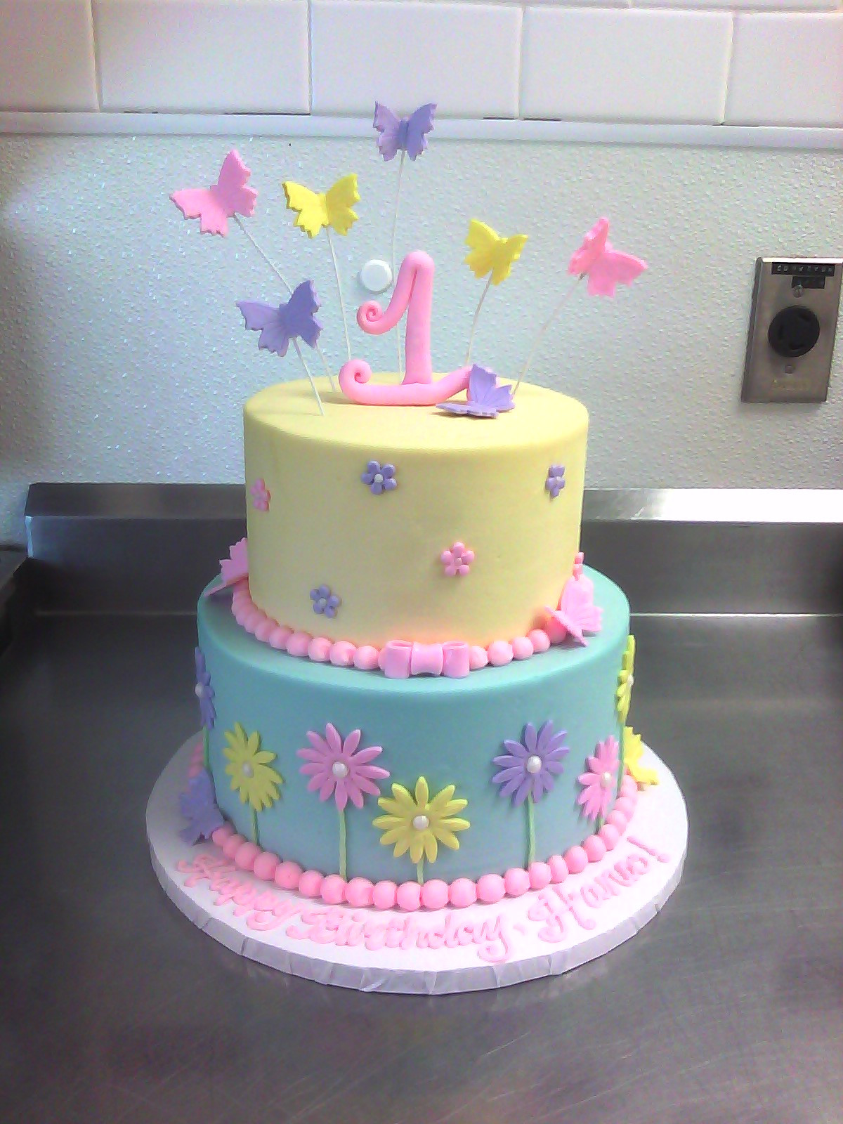 Best ideas about Cake Birthday . Save or Pin 1st Birthday Cake with Butterflies & Flowers Now.