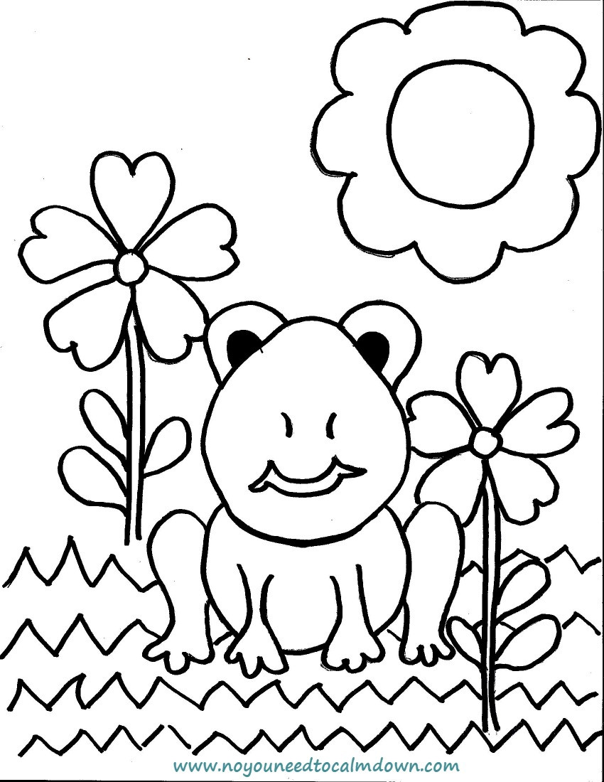 Best ideas about Calming Coloring Sheets For Kids . Save or Pin Spring Frog Coloring Page for Kids Free Printable Now.