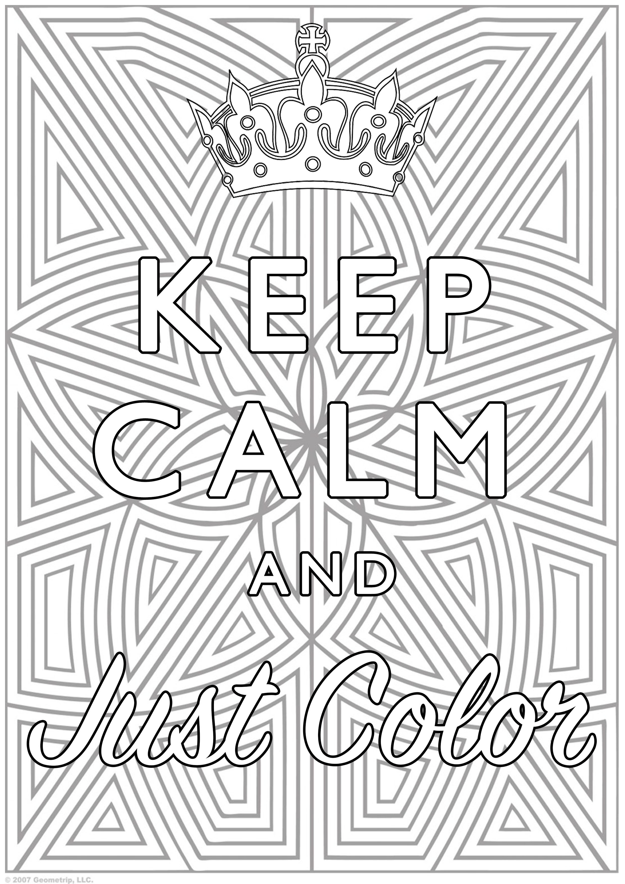 Best ideas about Calming Coloring Sheets For Kids . Save or Pin Keep Calm and Color Keep calm & … Adult Coloring Pages Now.