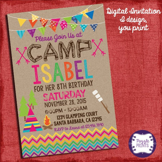 Best ideas about Camping Birthday Invitations . Save or Pin Camping Invitation Camping Birthday Invitation Sleepover Now.