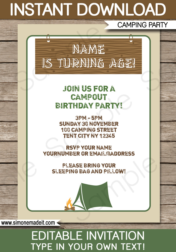 Best ideas about Camping Birthday Invitations . Save or Pin Camping Party Invitations template Now.