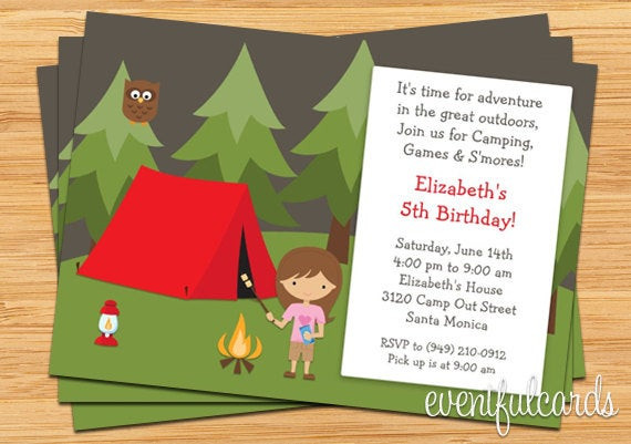 Best ideas about Camping Birthday Invitations . Save or Pin Girls Camping Birthday Party Invitation Now.