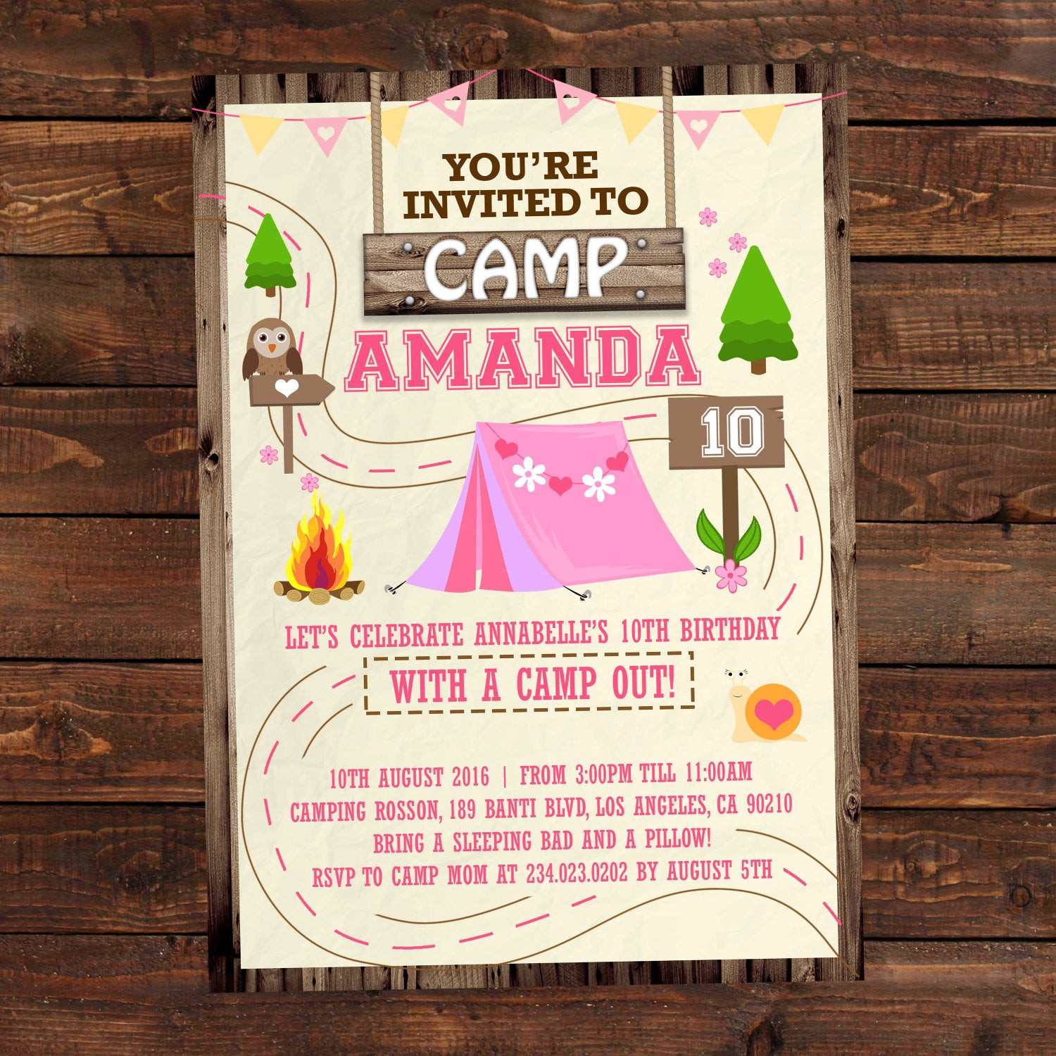Best ideas about Camping Birthday Invitations . Save or Pin Printable camping party invitations for girls Summer camp Now.