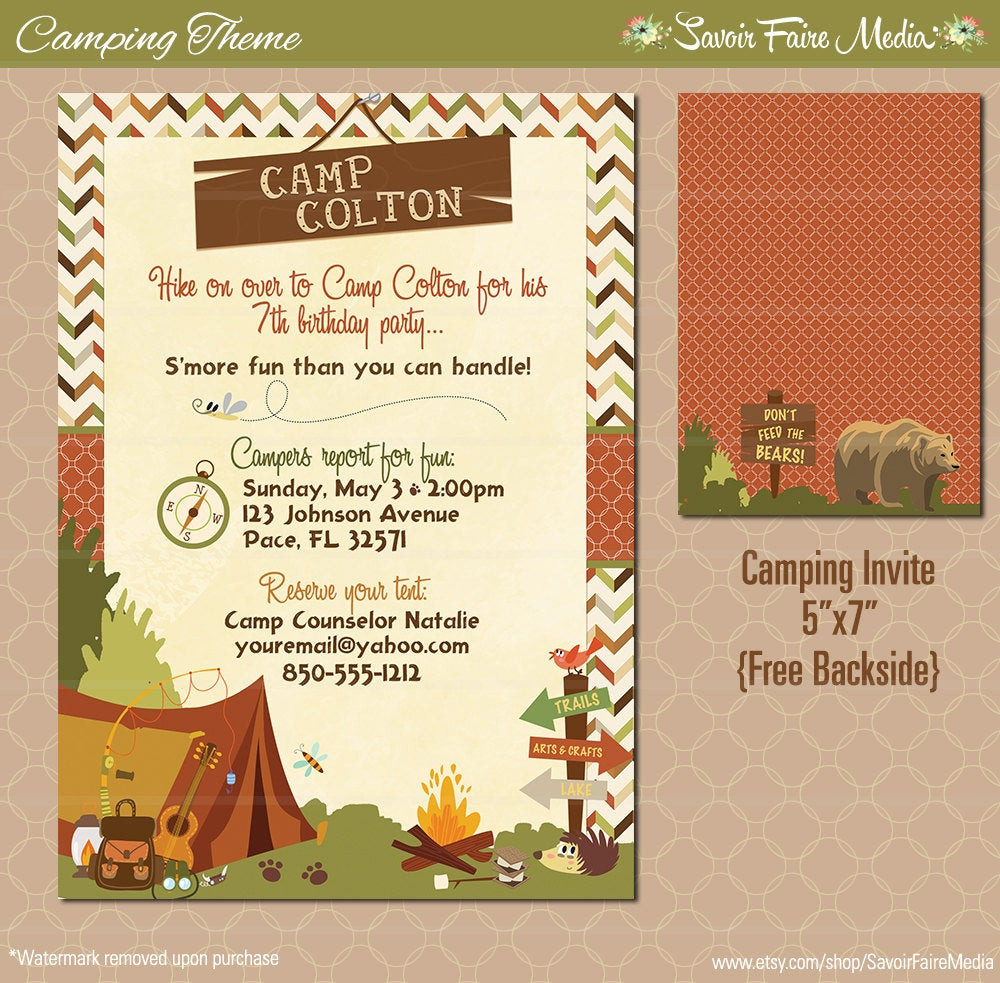 Best ideas about Camping Birthday Invitations . Save or Pin Camping Birthday Party Invitation Boys Tent S mores Fire Now.