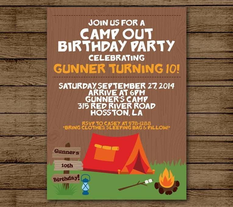 Best ideas about Camping Birthday Invitations . Save or Pin Camp Out Birthday Invitation Camping Birthday Party Now.