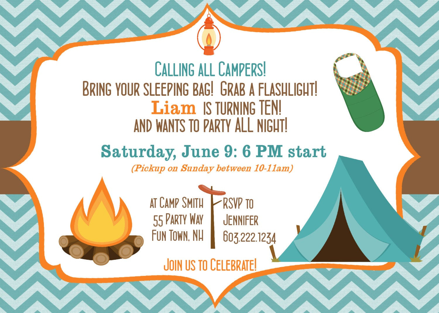 Best ideas about Camping Birthday Invitations . Save or Pin Camping Birthday Party Invitation Printable Camping Out Party Now.