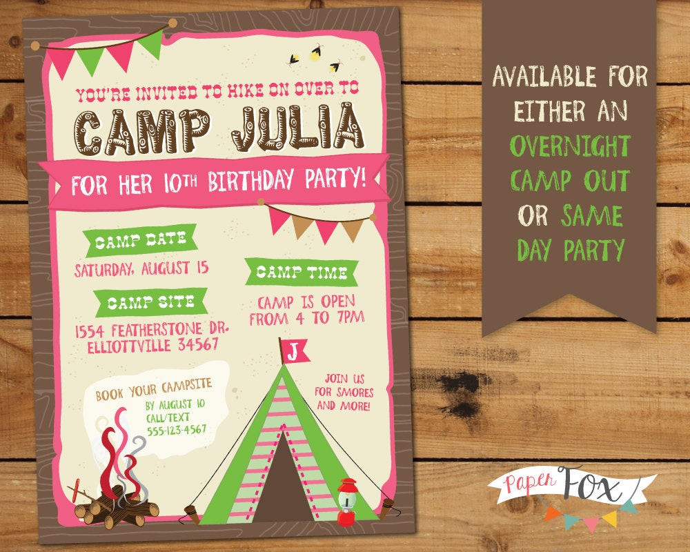 Best ideas about Camping Birthday Invitations . Save or Pin Camping Birthday Invitation Glamping Birthday Party Now.