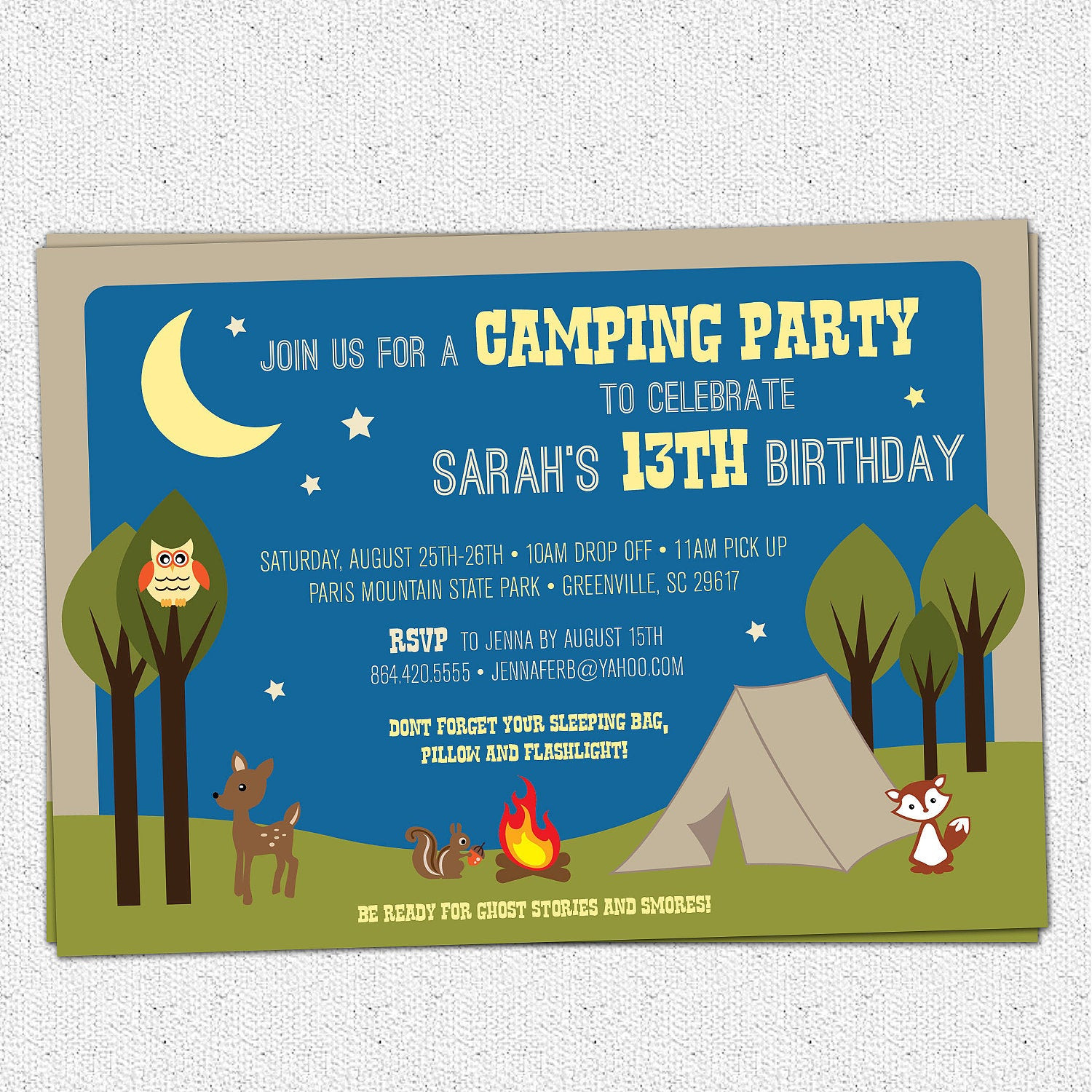 Best ideas about Camping Birthday Invitations . Save or Pin Camping Party Invitation Birthday Summer Woodland Animals Now.