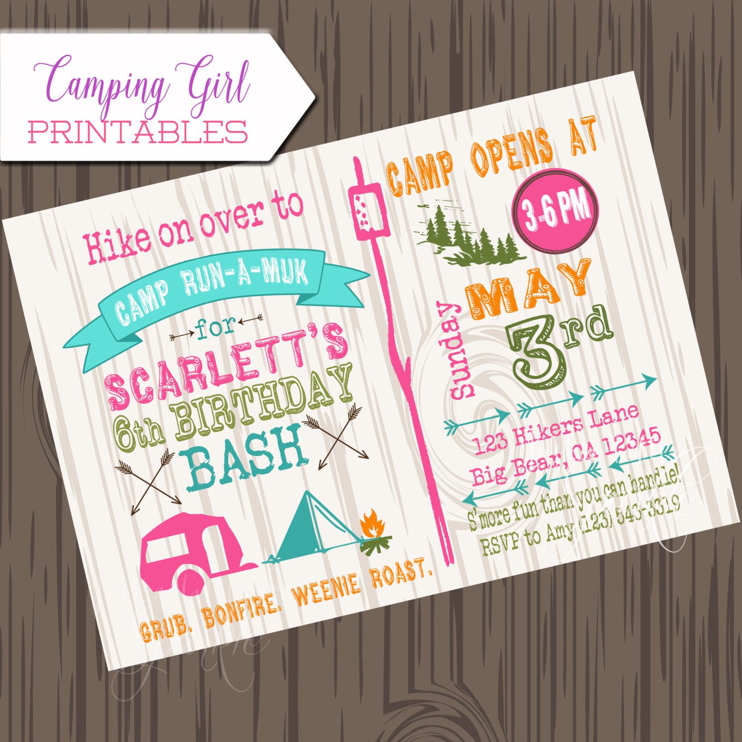 Best ideas about Camping Birthday Invitations . Save or Pin Girl Camping Birthday Invitation DIY Printable camp birthday Now.