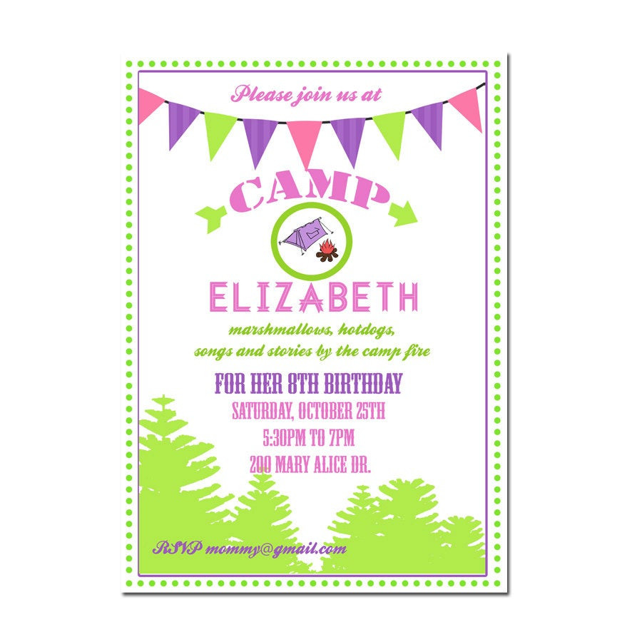 Best ideas about Camping Birthday Invitations . Save or Pin Camping Party invitation Camping Birthday Invitation Digial Now.