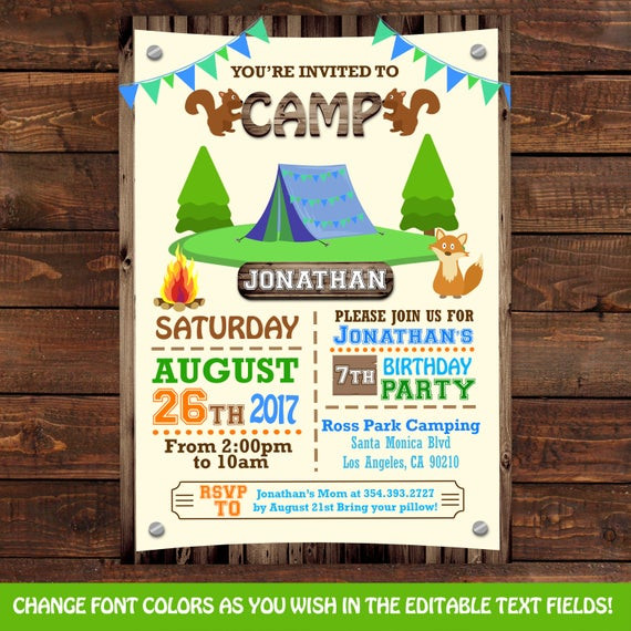 Best ideas about Camping Birthday Invitations . Save or Pin Camping tent birthday invitations Camping Party Invitations Now.
