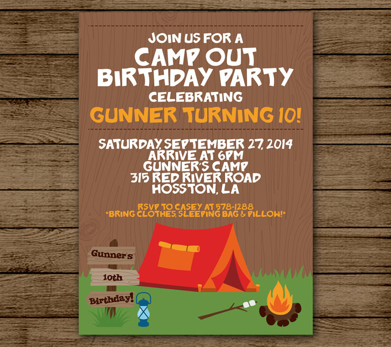 Best ideas about Camping Birthday Party Invitations . Save or Pin Camp Out Birthday Invitation Camping Birthday Party Now.