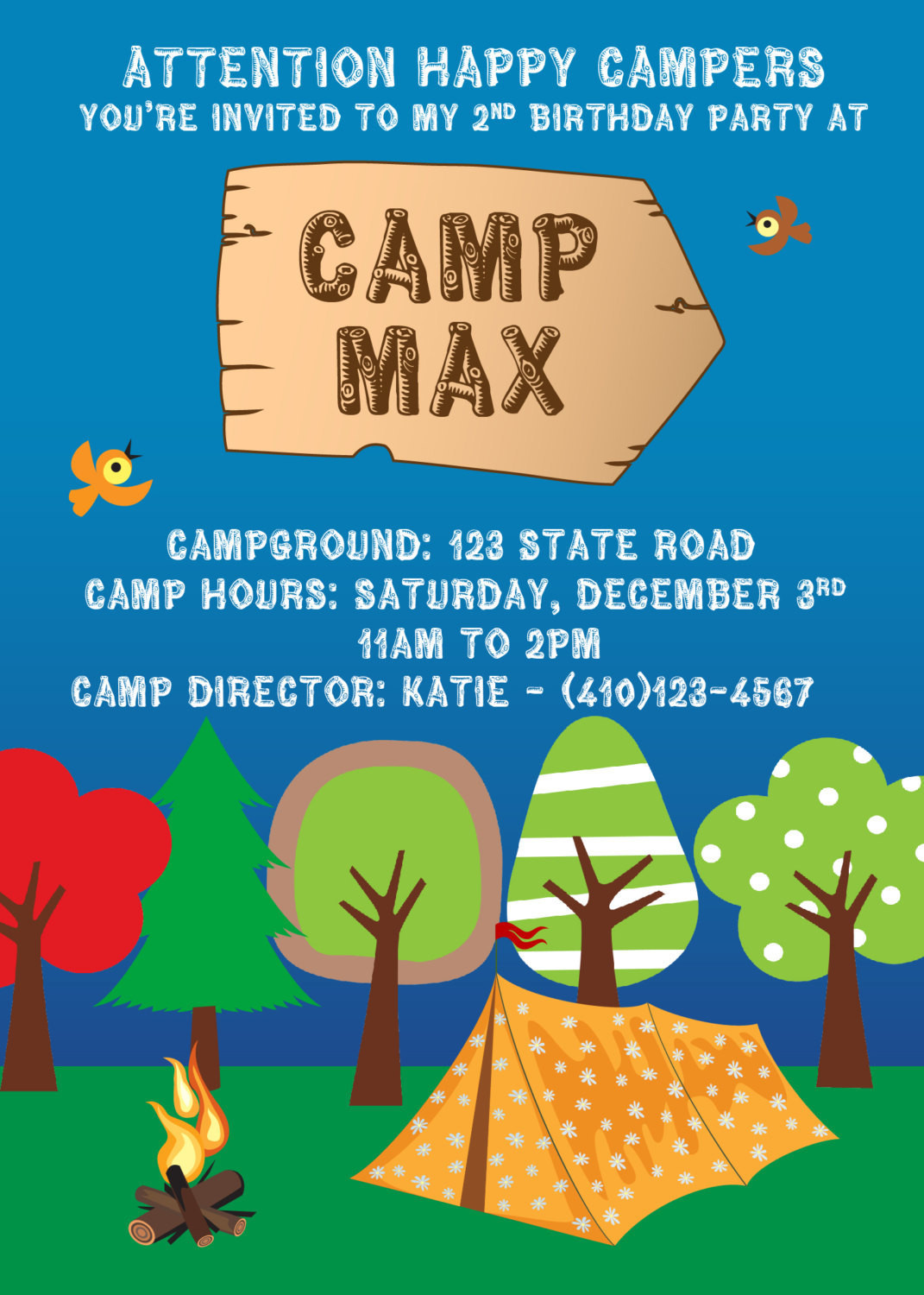 Best ideas about Camping Birthday Party Invitations . Save or Pin Camping Birthday Party Custom Printable Invitation Now.