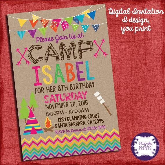 Best ideas about Camping Birthday Party Invitations . Save or Pin Camping Invitation Camping Birthday Invitation Sleepover Now.