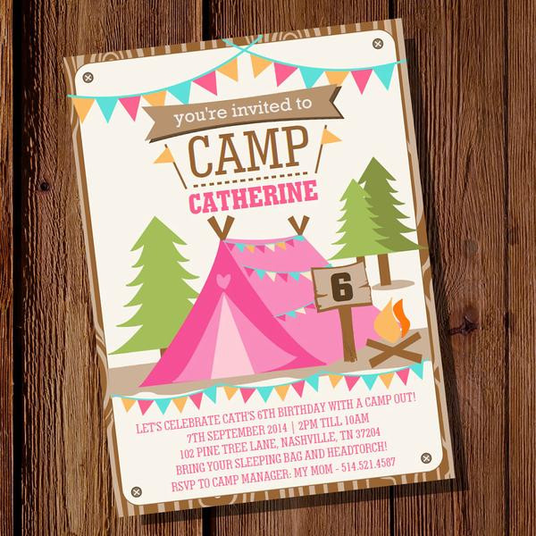 Best ideas about Camping Birthday Party Invitations . Save or Pin Backyard Camping Party Invitation for a Girl Now.