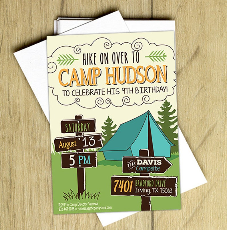 Best ideas about Camping Birthday Party Invitations . Save or Pin Camping Birthday Invitation Camping Birthday Party Invite Now.