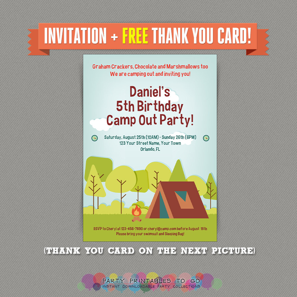 Best ideas about Camping Birthday Party Invitations . Save or Pin Camp Out Camping Birthday Party Printable Invitation with Now.