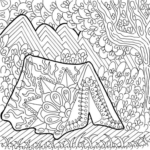 Best ideas about Camping Printable Coloring Pages . Save or Pin Printable Coloring Page Zentangle Camping Coloring Book Now.