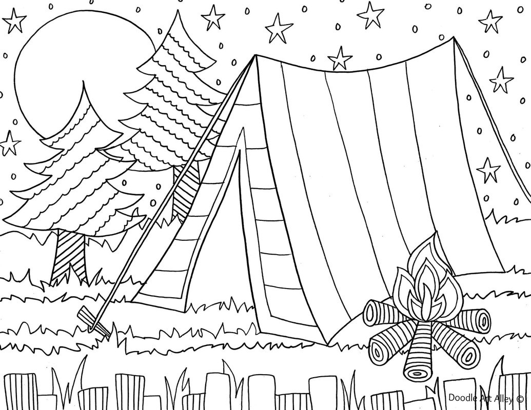 Best ideas about Camping Printable Coloring Pages . Save or Pin Summer Coloring pages Doodle Art Alley Now.