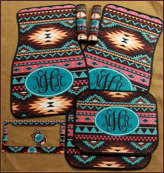 Best ideas about Car Accessories Gift Ideas . Save or Pin Car Mats Monogrammed Gifts Aztec Tribal Personalized Custom Now.