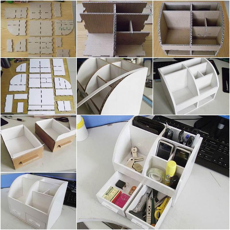 Best ideas about Cardboard Organizer DIY . Save or Pin DIY Cardboard Desktop Organizer with Drawers Now.