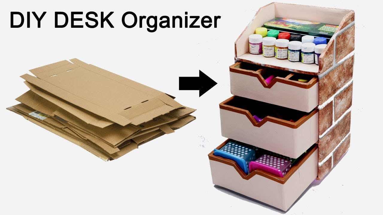 Best ideas about Cardboard Organizer DIY . Save or Pin How to Make a Stationary DIY Desk Organizer Using Now.