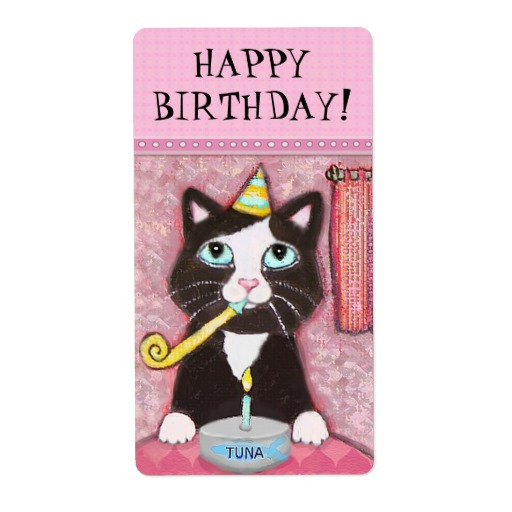 Best ideas about Cat Birthday Gifts . Save or Pin Custom Cat Birthday Girl Gift Label Now.