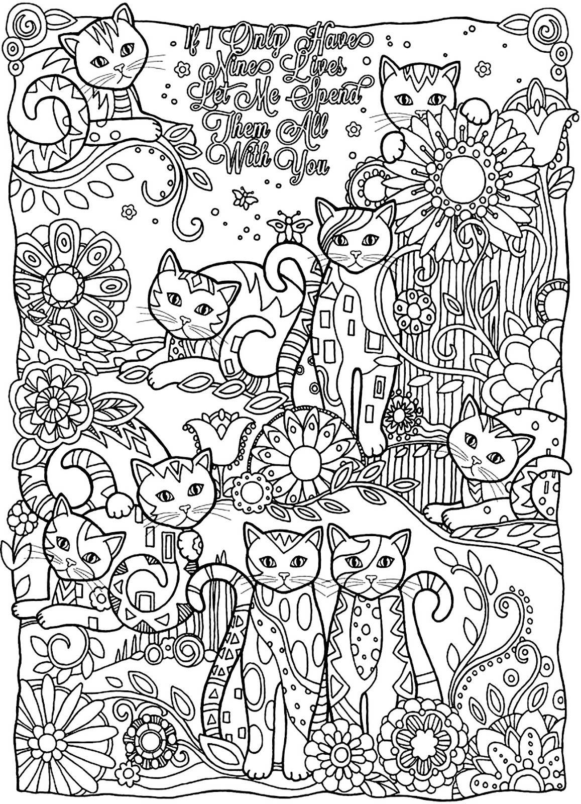 Best ideas about Cats Adult Coloring Books . Save or Pin Coloring Page World If I ly Have Nine Lives Let Me Now.