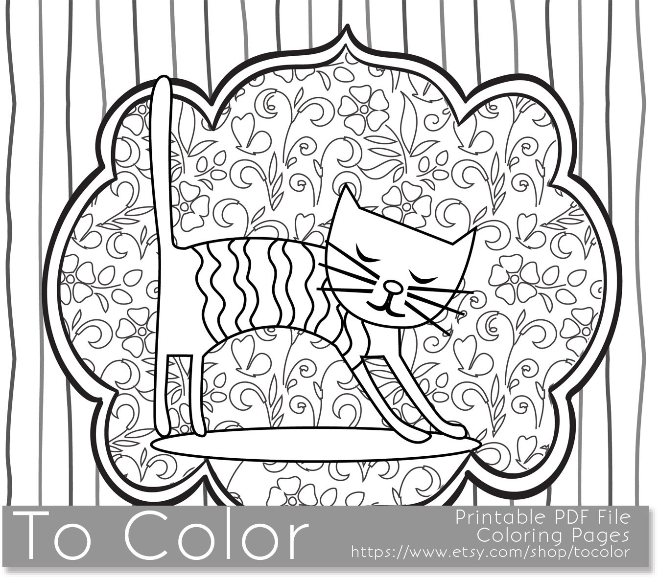 Best ideas about Cats Adult Coloring Books . Save or Pin Printable Whimsical Cat Coloring Page for Adults PDF by Now.
