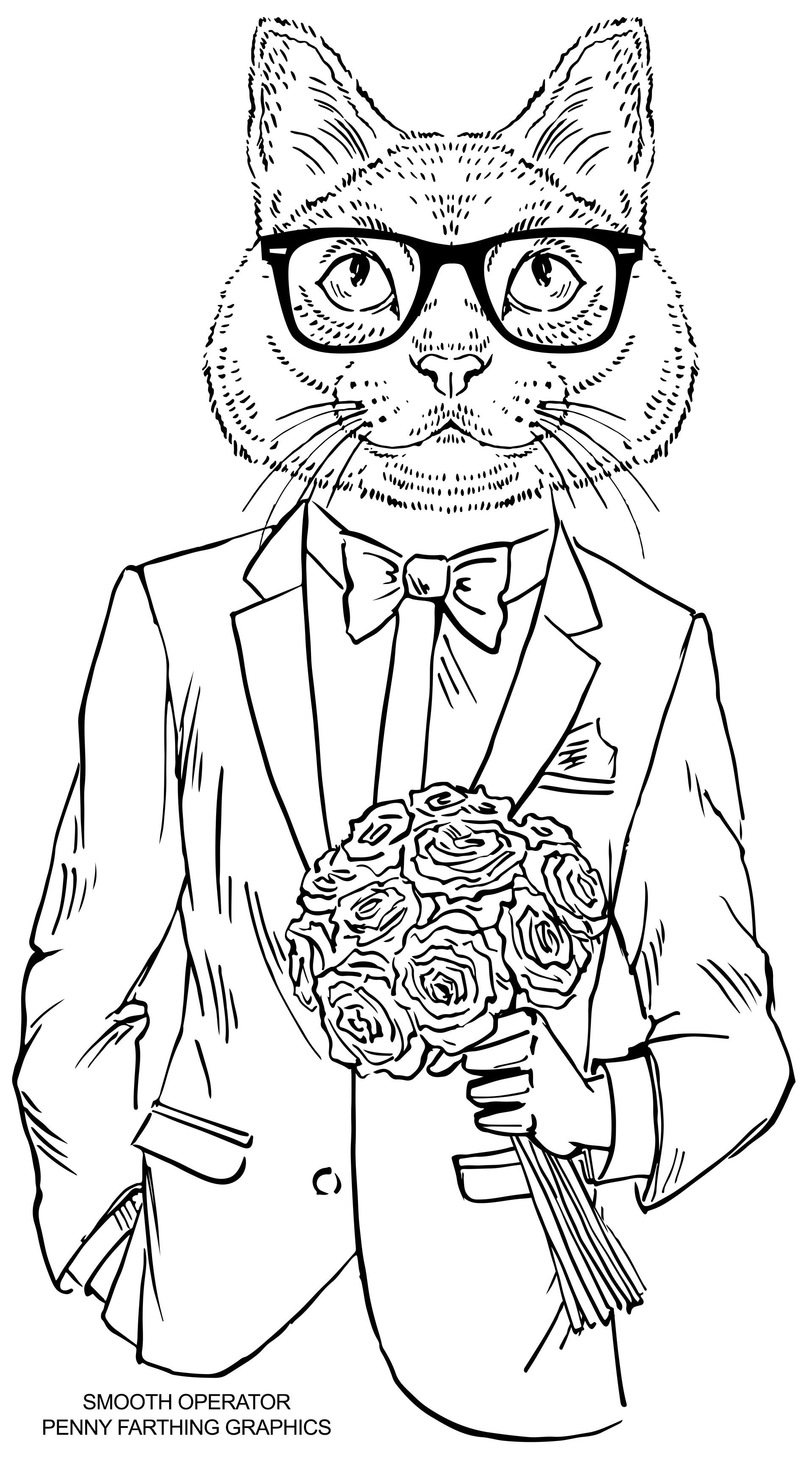 """Best ideas about Cats Adult Coloring Books . Save or Pin Cat from """"Smooth Operator"""" Would love to these Now."""