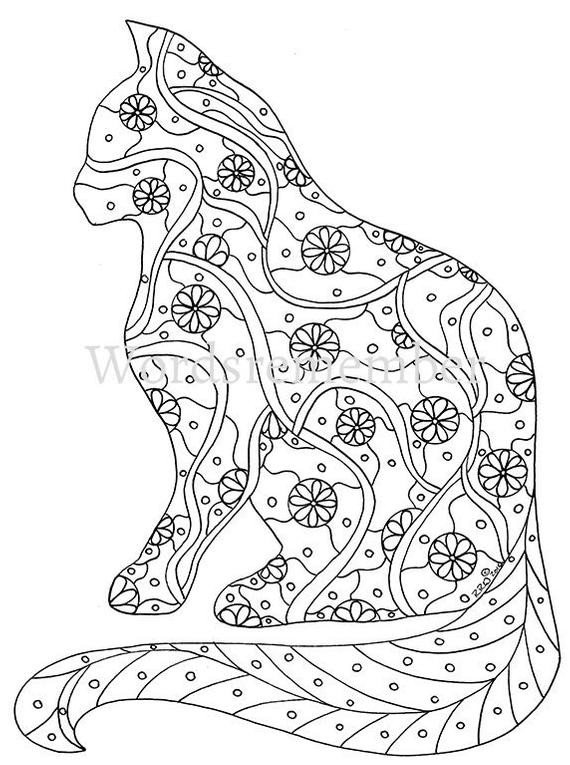 Best ideas about Cats Adult Coloring Books . Save or Pin Cat Coloring Page Coloring Pages Adult Coloring by Now.