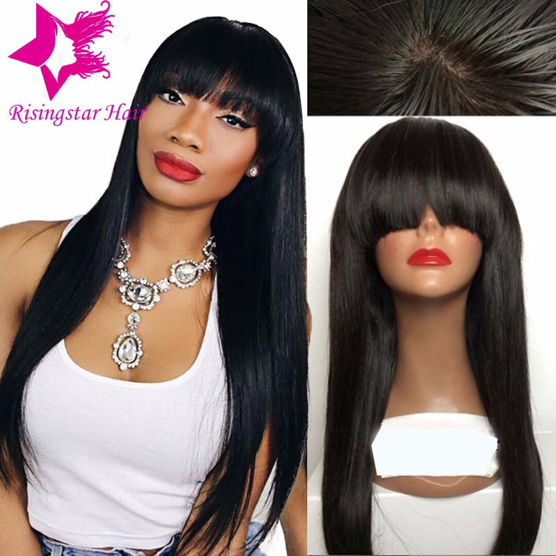 Best ideas about Chinese Bangs Black Hairstyle . Save or Pin 7a virgin brazilian glueless straight full lace human hair Now.