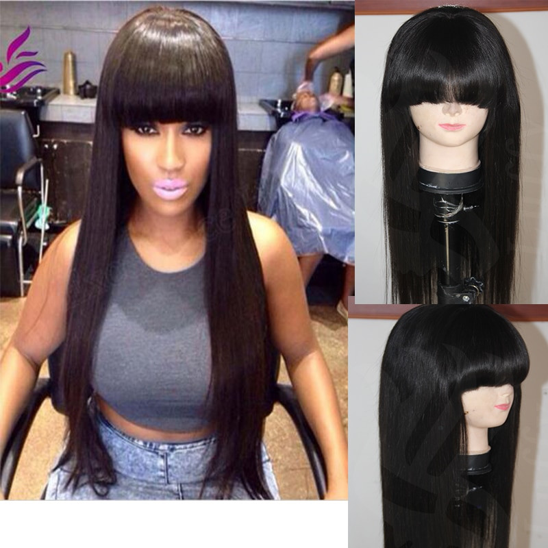 Best ideas about Chinese Bangs Black Hairstyle . Save or Pin Cheap Virgin Peruvian Chinese Bang Wigs Full Lace Front Now.