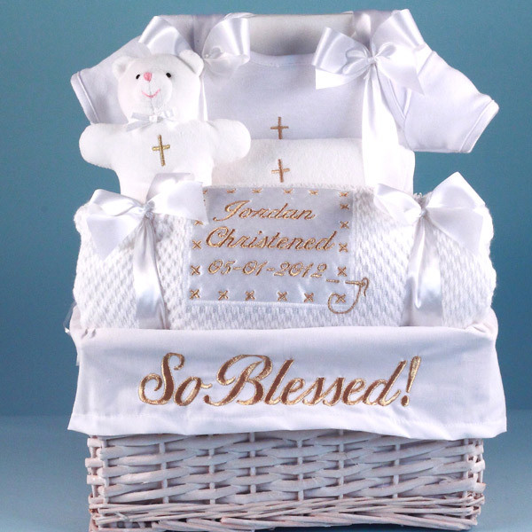 """Best ideas about Christening Gift Ideas For Baby Boy . Save or Pin """"So Blessed"""" Christening Baby Gift Basket Now."""