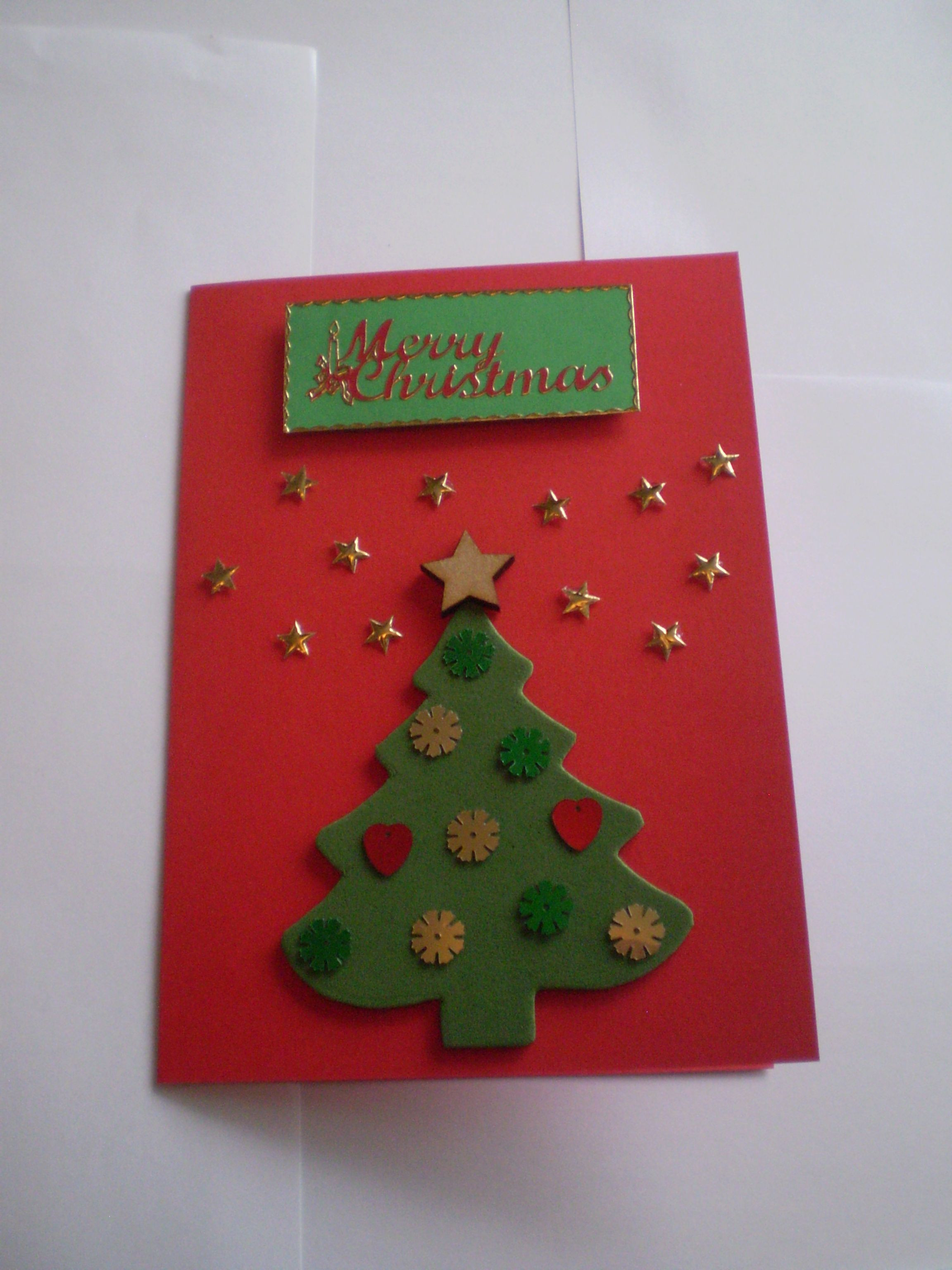 Best ideas about Christmas Card Craft Ideas . Save or Pin Foam Christmas Tree card with gold stars and sequins Now.