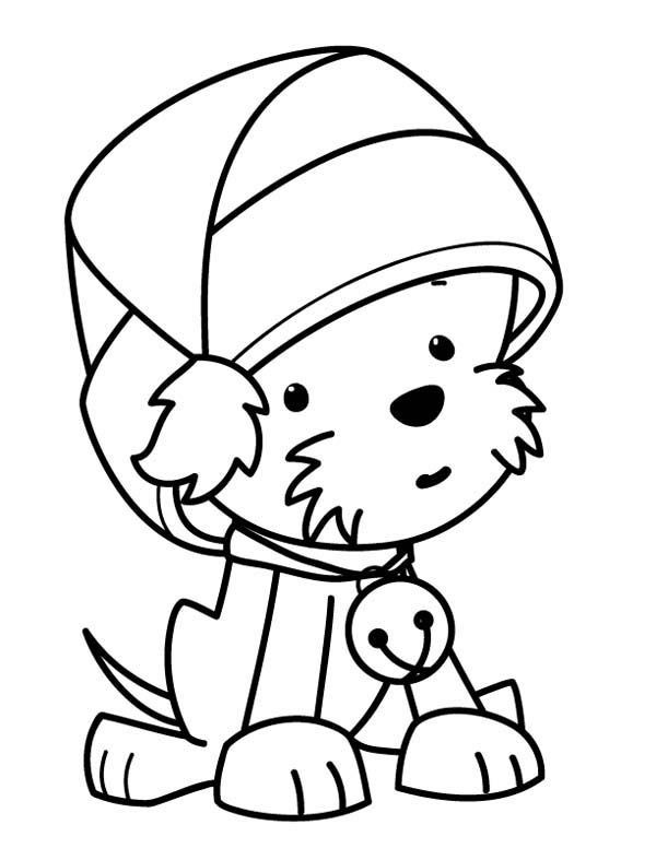 Best ideas about Christmas Dog Coloring Pages For Kids . Save or Pin Coloring A Cute Little Dog Wearing Santas Hat Christmas Now.