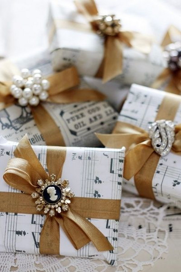 Best ideas about Christmas Gift Wrapping Ideas Elegant . Save or Pin Easy to Make Romantic Sheet Music Decorating Projects DIY Now.