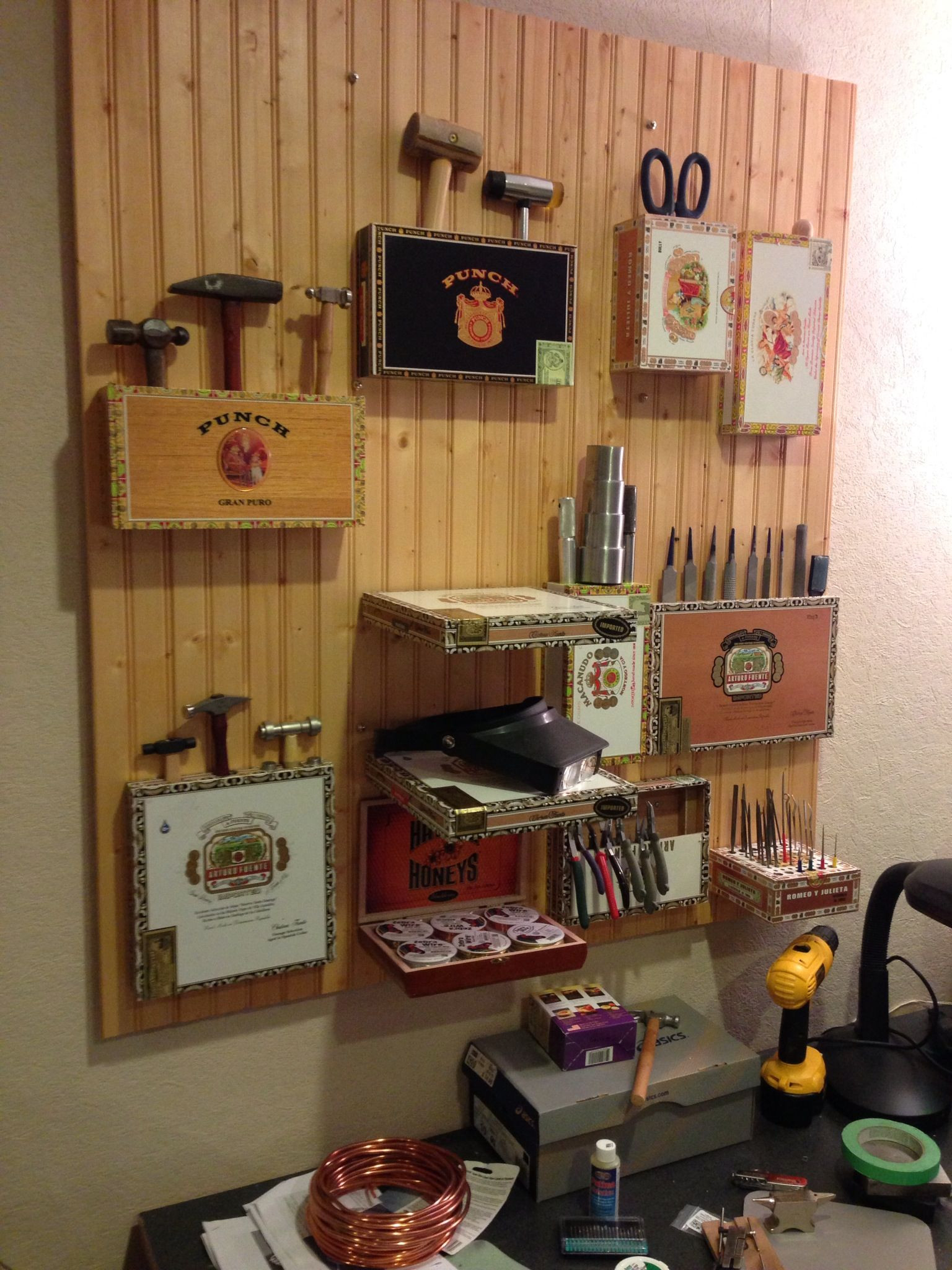 Best ideas about Cigar Box Craft Ideas . Save or Pin My crafty tool rack for the new studio Repurposed cigar Now.