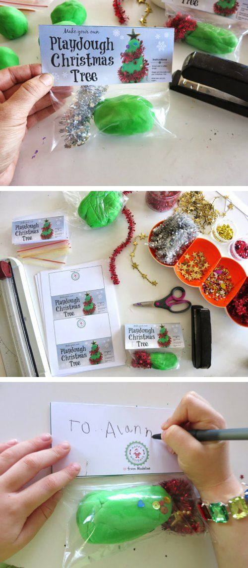 Best ideas about Class Gift Ideas . Save or Pin DIY Chistmas Tree Playdough Gift Bags with free printable Now.
