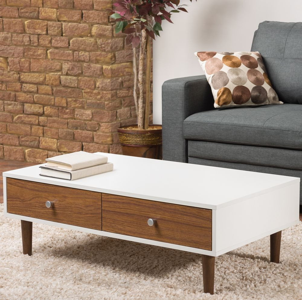 Best ideas about Coffee Table With Storage . Save or Pin White Coffee Table Storage Drawer Modern Wood Furniture Now.