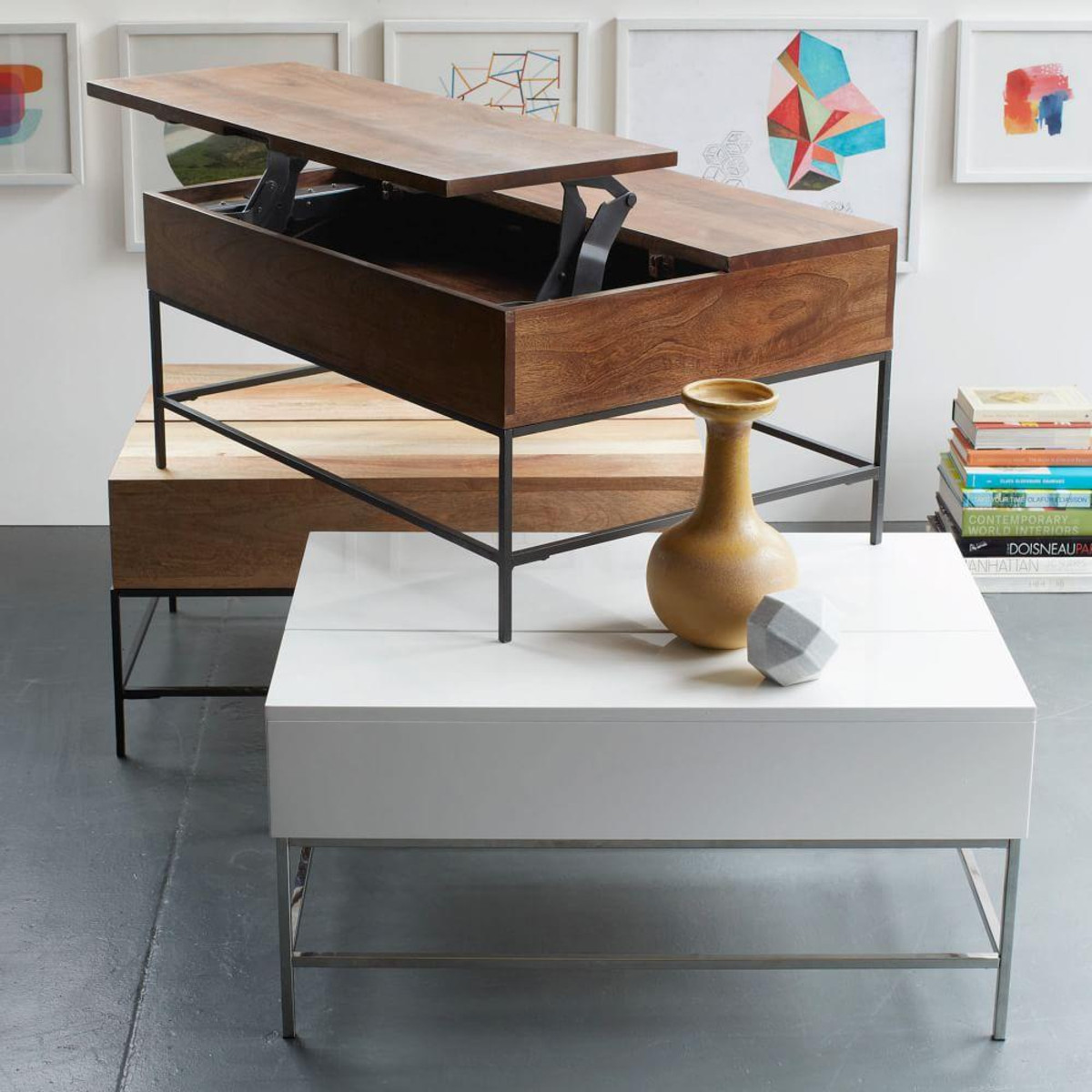"""Best ideas about Coffee Tables With Storage . Save or Pin Industrial Storage Coffee Table Small 36"""" Now."""