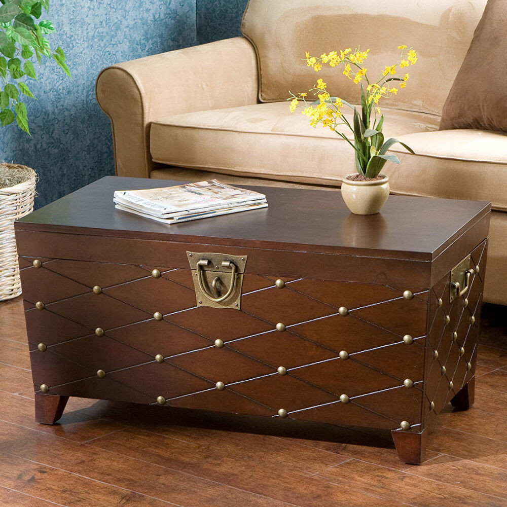 Best ideas about Coffee Tables With Storage . Save or Pin Trunk Coffee Table Storage Area Nailhead Living Room Now.