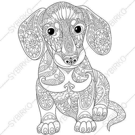 Best ideas about Coloring Pages For Adults Dogs . Save or Pin Adult Coloring Page Dachshund Puppy Zentangle Doodle Now.