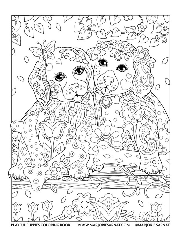 Best ideas about Coloring Pages For Adults Dogs . Save or Pin Playful Puppies — Marjorie Sarnat Design & Illustration Now.