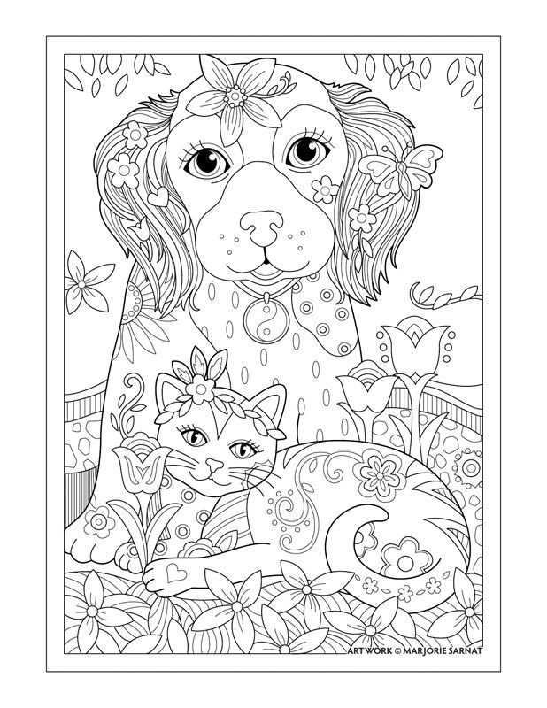 """Best ideas about Coloring Pages For Adults Dogs . Save or Pin Marjorie Sarnat s Pampered Pets """"Dog Cat and Butterfly Now."""