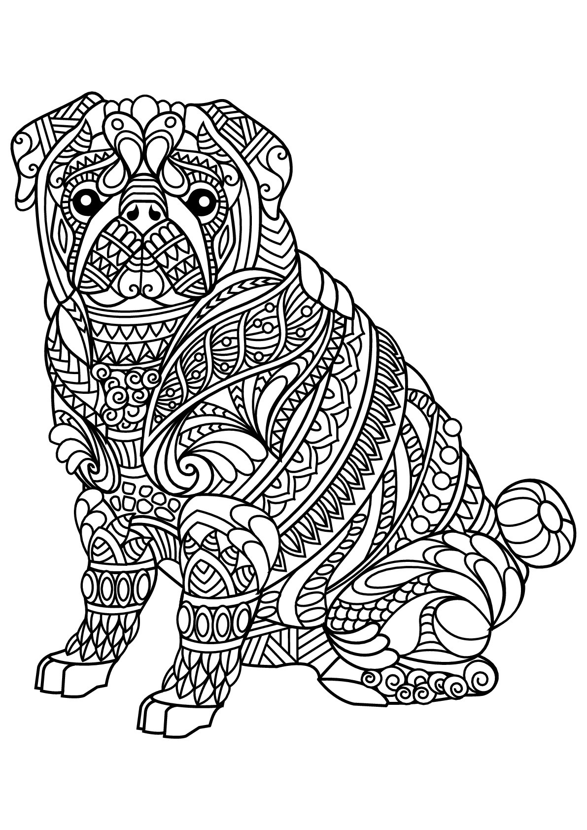 Best ideas about Coloring Pages For Adults Dogs . Save or Pin Free book dog bulldog Dogs Adult Coloring Pages Now.