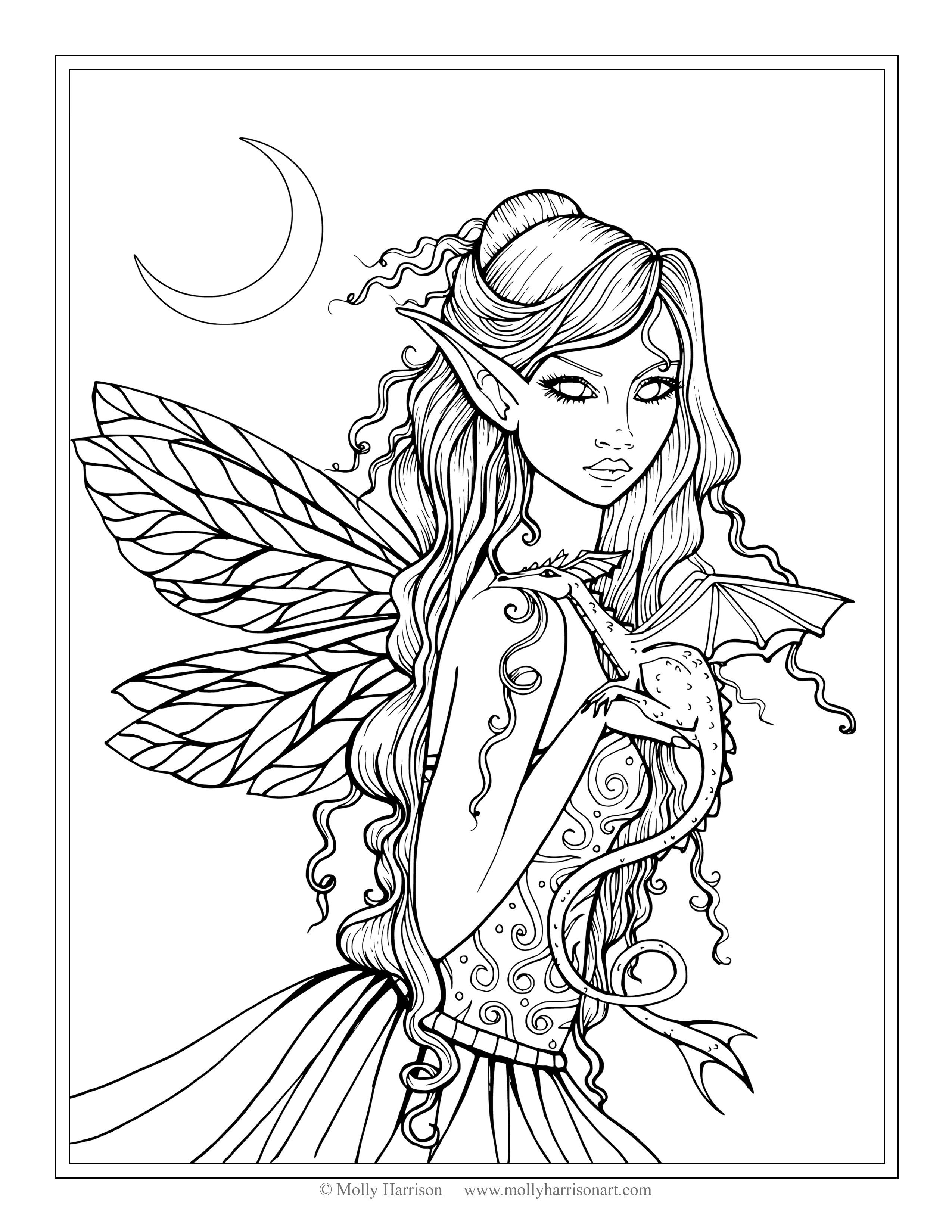 Best ideas about Coloring Pages For Girls Fairies . Save or Pin Free Fairy and Dragon Coloring Page by Molly Harrison Now.